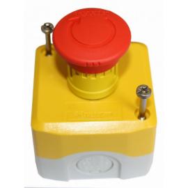 Boitier arret d 39 urgence gris et jaune avec bouton rouge - Bouton d arret d urgence ...