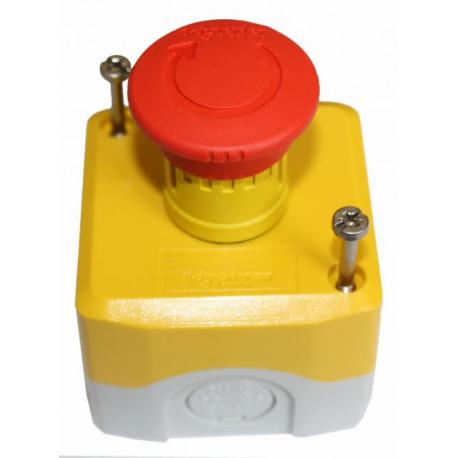 boitier arret d 39 urgence gris et jaune avec bouton rouge. Black Bedroom Furniture Sets. Home Design Ideas